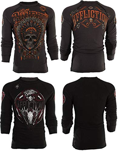 Affliction  Mens Thermal Shirt Reversible American Customs Apache Biker Grey (Large)