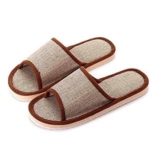 NUGKPRT chanclas,Zapatillas de casa para mujer, zapatos de casa, piso interior, lino suave, ligero, Unisex, dormitorio, chanclas de lino, Chinese40, marrón