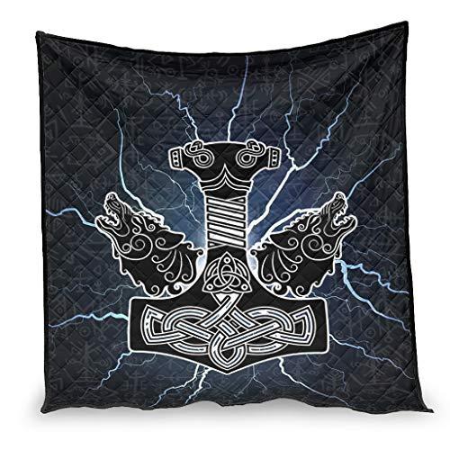 YshChemiy Viking Thor Hammer Wolf - Colcha de algodón para interior (180 x 200 cm), diseño de lobo