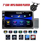 Regetek Car Stereo Double Din 7' Touchscreen in Dash Stereo Car Audio Video Player Bluetooth FM AM Radio Mp3 /TF/USB/ AUX-in/Subwoofer/Steering Wheel Controls + Remote Control+Rear View Camera