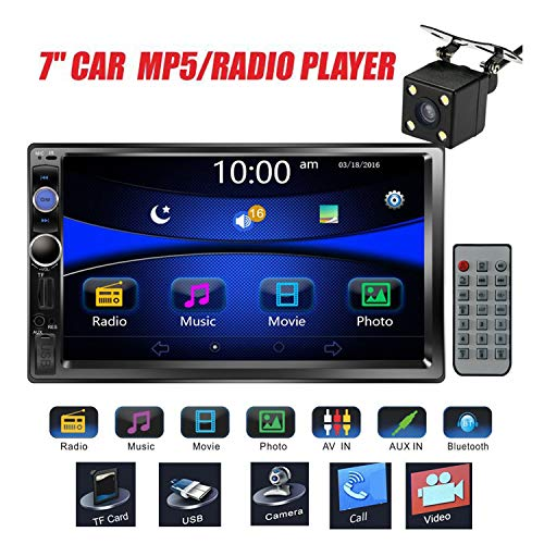 """Regetek Car Stereo Double Din 7"""" Touchscreen in Dash Stereo Car Audio Video Player Bluetooth FM AM Radio Mp3 /TF/USB/AUX-in/Subwoofer/Steering Wheel Controls + Remote Control+Rear View Camera"""