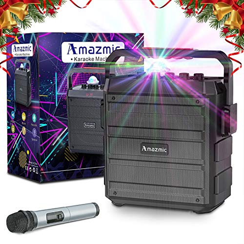 Amazmic Portable Karaoke Machine for Kids & Adults, PA System Bluetooth Speaker with Wireless Handheld Microphone, FM Radio Little Disco Ball for Family Party/Speach, Indoor/Outdoor Use