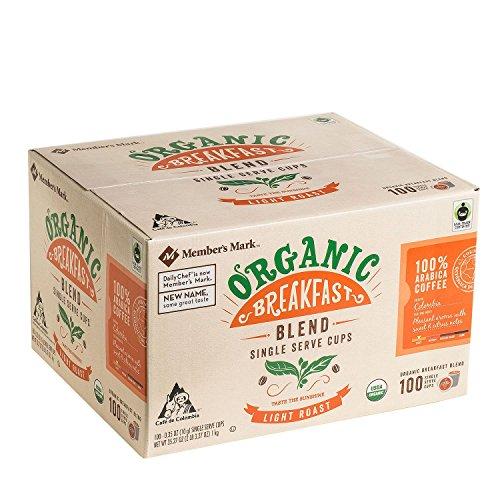 Member's Mark Organic Breakfast Blend Coffee 100 single-serve cups. (pack of 3) A1