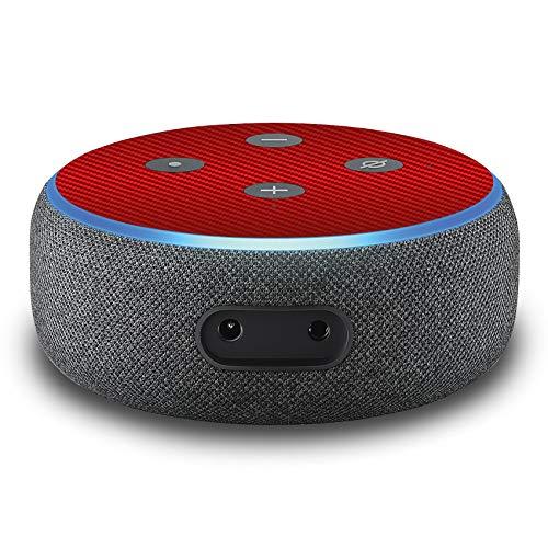 2er Set Folie Cover für intelligenten Smart Speaker Lautsprecher Aufkleber Schutzfolie Skin selbstklebend passgenau Klebefolie für Sprachassistent R137 (Nr. 23 Carbon Rot)