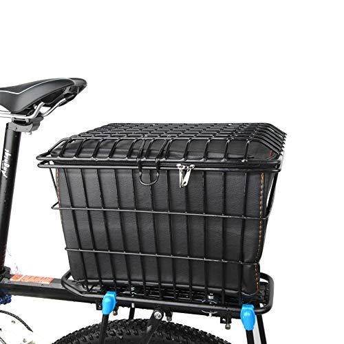 EEKUY Fietsmand met deksel, fiets metalen achtermandje waterdichte PU binnenzak kan dragen huisdieren geschikt voor fiets elektrische voertuigen