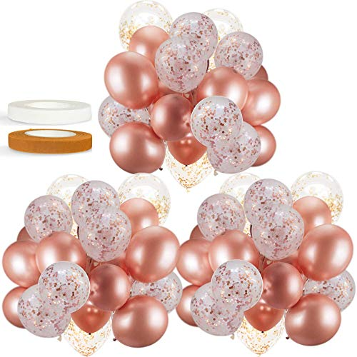 60 PACK Dandy Decor Rose Gold Balloons + Confetti Balloons w/ Ribbon | Rosegold Balloons for Parties | Bridal & Baby Shower Balloon Decorations | Latex Party Balloons | Graduation, Engagement, Wedding