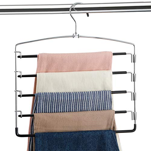 Pants Hangers Non Slip 3 Pack Space Saving Hangers Multi-Layer Swing Arm Pants Hanger Stainless Steel Space Saver Hangers for Pants Jeans Scarf Trouser Tie Towel Clothes (Black)