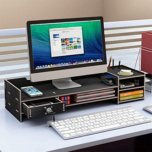 Laptop Stand, Holz Monitor Stand TV PC Laptop-Computer-Bildschirm Riser Desk Desktop-Monitorständer Schreibtisch Storage Rack DIY Holzmonitorständer mit Schublade,B