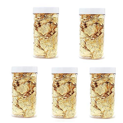 CAJHFIZHANGU 5 piezas de copos de oro auténticos comestibles de hoja de oro genuino para pasteles, cocina y belleza decorativa