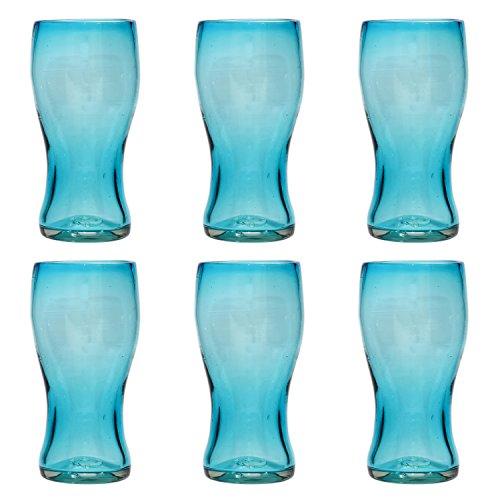 Pinte (Verre à bière) Artisanal - Verre recyclé – Turquoise - par 6 pièces