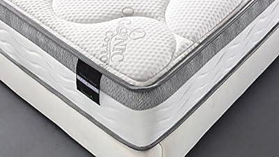 Oliver Smith - Organic Cotton - 10 Inch - Perfect Sleep - Comfort Plush Euro Pillow Top - Cool Memory Foam & Pocket Spring Mattress - Green Foam Certified - Twin