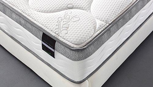 Oliver Smith - Organic Cotton - 10 Inch - Perfect Sleep - Comfort Plush Euro Pillow Top - Cool Memory Foam & Pocket Spring Mattress - Green Foam Certified - Queen
