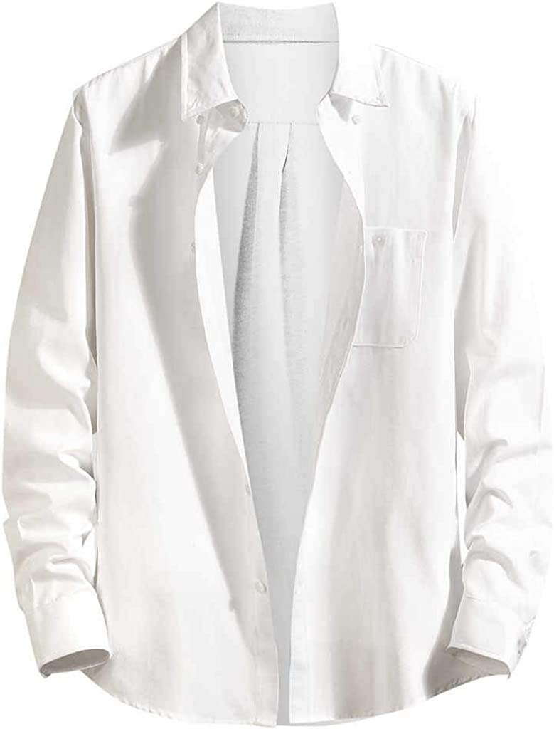 MODOQO Men's Button Down Shirt, Loose Fit Long Sleeve Shirt, Casual Lapel Shirt fot Summer