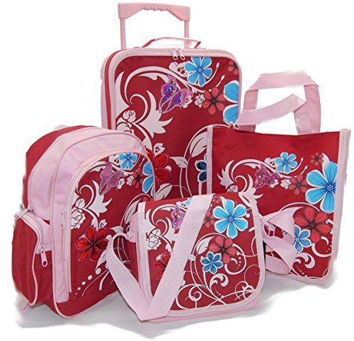 STEFANO Kinder Reisegepäck Rosa/Rot Flower Blumen Trolley Kitatasche Rucksack Tasche Geldbörse oder 4 tlg. Set (4 tlg. Set)