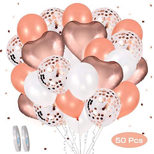 ROTEK 50 Stuks Rose Gold Ballon set, 12 inch Folie Hart Rose Ballonnen Rose Gold Confetti Latex Ballon Rose Gold Latex Ballonnen Witte Latex Ballonnen met 20M Witte Linten voor Verjaardagsfeestje