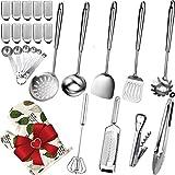 Stainless Steel Kitchen Utensils Set - 26 Pcs 304(18/8) Stainless Steel Cooking Utensils Set with...
