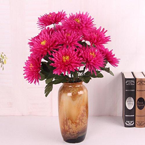 FLAMEER 7 Köpfe Chrysanthemenbündel Künstliche Blume Mum Bouquet Blumendekor 58cm - Rosig, 58cm
