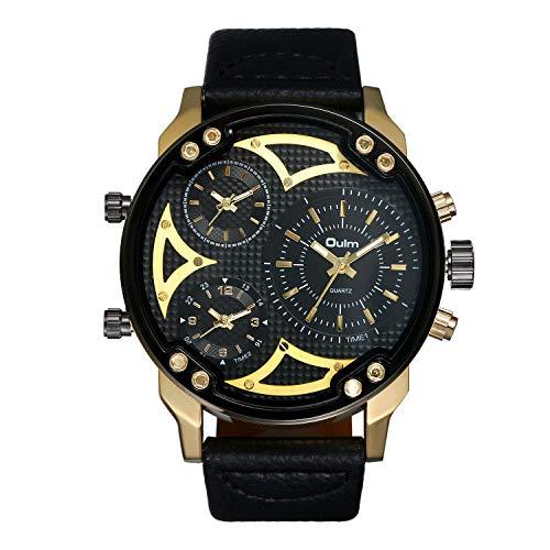 JewelryWe Reloj de Pulsera para Hombre, Correa de Piel, Esfera Grande, Reloj de Cuarzo