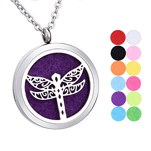 SG Animal Aromatherapy Essential Oil Diffuser Necklace Stainless Steel Pendant Locket with 12 Pads,Dragonfly