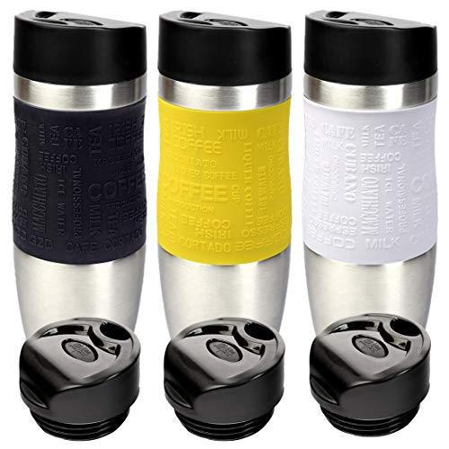 Schramm® 3 Stück Thermobecher inkl. Ersatzdeckel in schwarz, gelb und Weiss Isolierbecher ca. 400ml Thermoisolierbecher Kaffeebecher