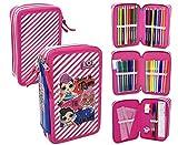 Lol Surprise LL0632 - Estuche triple rellenado, 44 accesorios escolares, fila, giotto, 20 cm