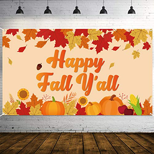 """WATINC Happy Fall Y'all Backdrop Banner Autumn Background Banners 78"""" x 45"""" Extra Large Backdrops with Maple Leaves Pumpkin Harvest Party Decorations Supplies for Indoor Outdoor Photo Booth Props"""