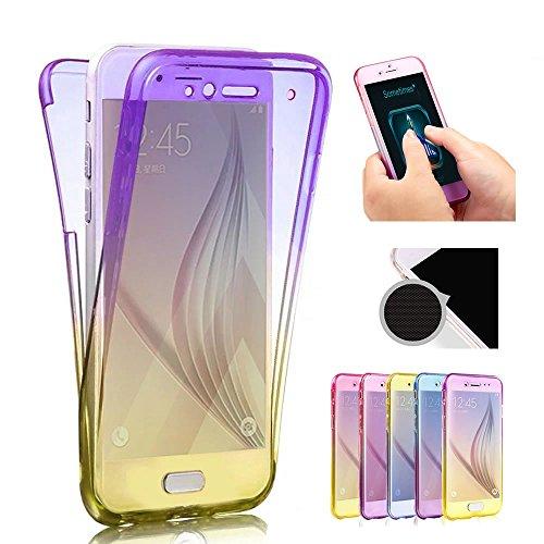 Sycode Coque Galaxy A5 2017,Pente Gradient Couleur 360 Degré Ultra Mince Transparente Avant et Arrière Etui Housse Coque pour Samsung Galaxy A5 2017-Violet Jaune