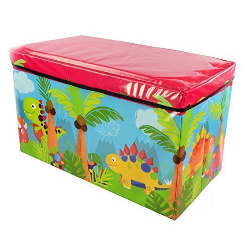 Foldable Large Soft Toy Storage Box for Kids| Wooden Chest Seat for Baby...