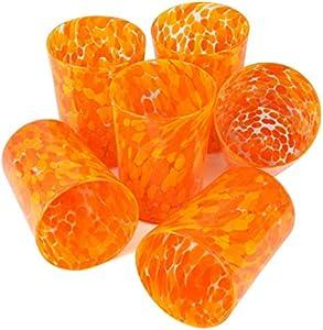 Juego de 6 vasos de cristal de Murano, color naranja