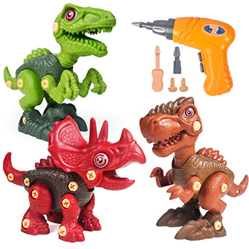 Velociraptor Pieces for Construction Building Set of Tyrannosaurus Triceratops STEM-Learning Gifts for Boys /& Girls ATHENA FUTURES Take Apart Dinosaur Toys 3 Toy Screwdrivers