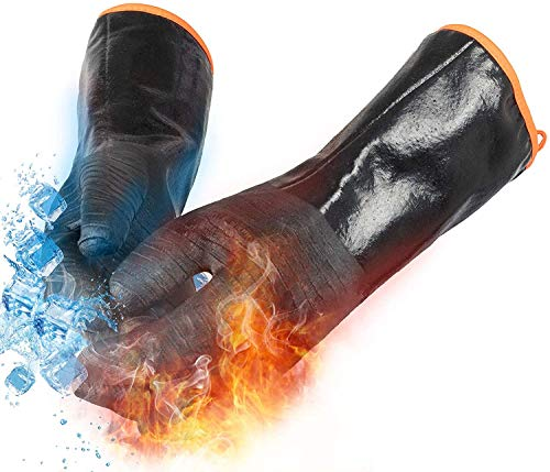 OYOGAA Grill BBQ Gloves 932℉ Heat Resistant Oven Gloves Cooking Barbecue Gloves Great for Barbecue Cooking Baking Grilling – Waterproof Fireproof Oil Resistant Neoprene Material 14 inch