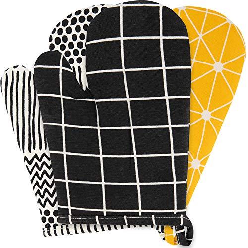 Sophie Nordinn ® Ofenhandschuhe Gitter schwarz - Hitzebeständig Kochhandschuhe (2er Set) - Oven Gloves - Hochwertige Ofenhandschuh - Topflappen Handschuh - Backofenhandschuhe