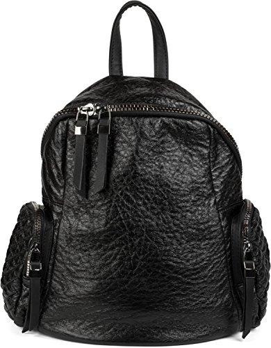 styleBREAKER Rucksack Handtasche in Metallic Stepp Optik und Reißverschluss, Tasche, Damen 02012199, Farbe:Schwarz metallic