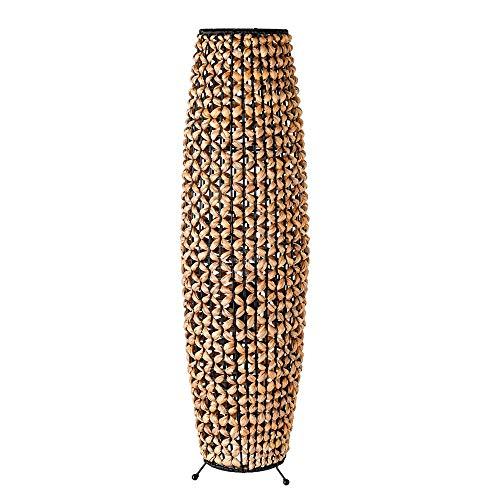 Lámpara de pie trenzada exótica de fibra natural y metal negra y beige, de ø 25x87 cm - LOLAhome