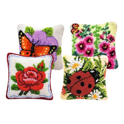 harayaa 4 Juegos de Kits de Gancho de Pestillo de Flores, Paquete de Bordado de Cojín de Almohada para Mujeres Y Hombres