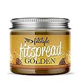 FITspread GOLDEN 200g | Crema de avellanas con cacao y crocanti de almendra 94% | Sin azúcar y sin aceite de palma | Sabor a Bombón crujiente