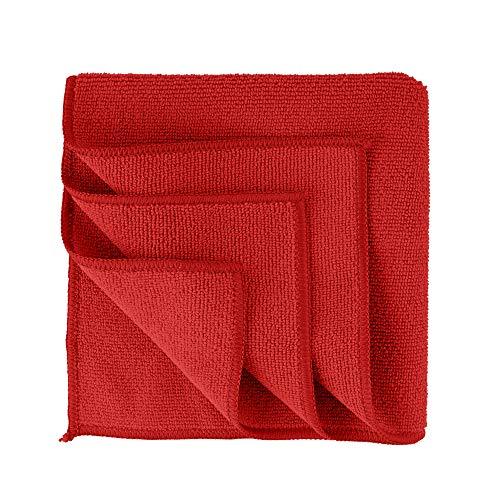 S&S-Shop 10 Mikrofasertücher | 30 x 30 cm | Rot | waschbar - weich | Microfasertücher Mikrofaser Tuch Reinigungstücher Auto polieren Putztücher | Haushaltstücher