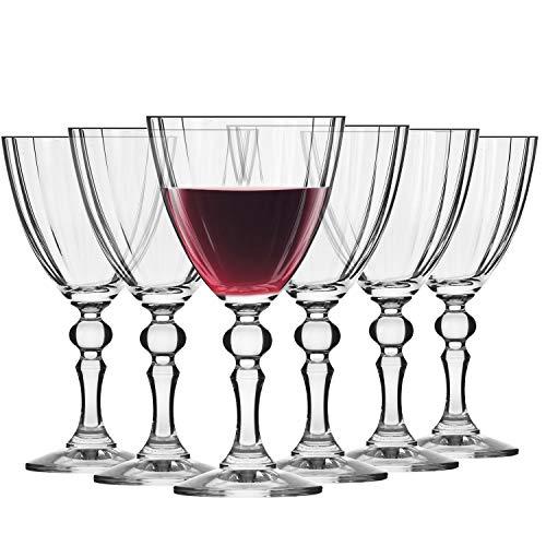 Krosno Kleine Rot-Weingläser | Set von 6 | 250 ML | Illumination Kollektion | Perfekt für zu Hause, Restaurants und Partys | Spülmaschinenfest