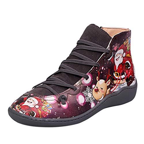 cureture Damen Thema Weihnachten Stiefeletten Weiches Bequem pu Leder Stiefeletten Wasserdicht Kurz Boots Lässige Chelsea Boots