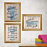 Bathroom'Humor' Funny Bathroom Decor Set (3) 8 x10's Wall Decor. Rustic, Distressed Wall Prints-Ready To Frame.'Tinkles, Prayers & Bubbles'-Wood Sign Replicas. Fun Reminders For Kids-Guest Bath.