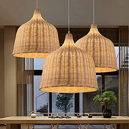 Lámpara de techo de bambú de 35 cm de mimbre pantalla de ratán, lámpara de araña de iluminación original antiguo asiático colgante lámparas para restaurante dormitorio