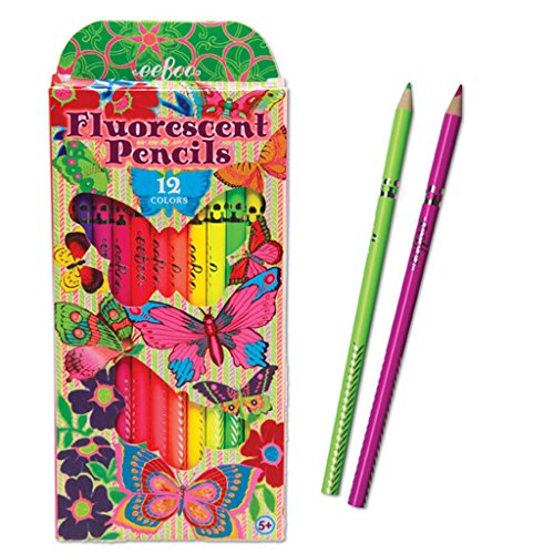eeBoo Fluorescent Colored Pencils, Butterfly, Set of 12