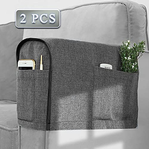 Joywell Recliner Narrow Linen Armrest Covers for Living Room Anti-Slip Sofa Arm Protector for Dogs, Cats, Pets Armchair Slipcover for Couch with 4 Pockets for TV Remote Control, Phone, Set of 2, Gray