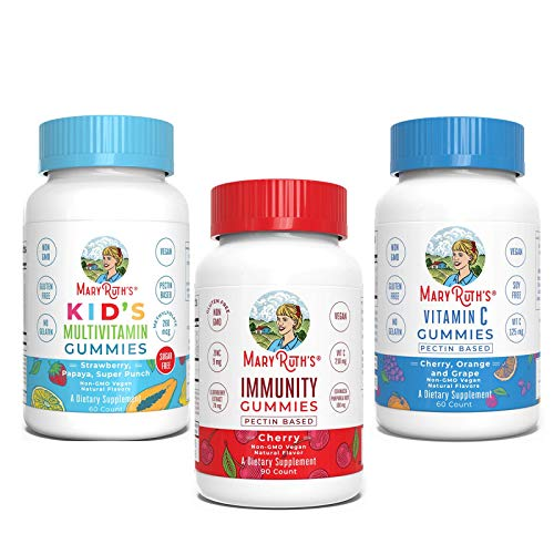 Kids Multivitamin + Immunity + Vitamin C Gummies Bundle by MaryRuth's | Kids Multivitamin Gummies, 60ct | Immunity 5-in-1 Gummies for Kids & Adults, 90ct | Vitamin C Gummies for Kids & Adults, 60ct