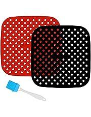 2-pack återanvändbara luftfritös i silikon, non-stick luftfritös mattor (22 cm)