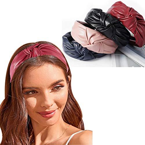 Bohend Moda Donne Fascia per capelli Largo Pelle annodata Cerchio per capelli Puro Turbante Accessori per capelli per Donne e Ragazze (4 pezzi)