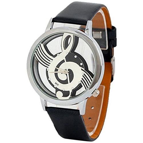 Gemini_Mall® Armbanduhr, modisch, Unisex, mit Musiknoten-Muster, rundes Zifferblatt, silberfarben, metall, Schwarz , Einheitsgröße