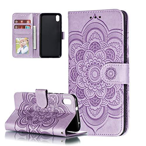 COTDINFOR Etui für Xiaomi Redmi 7A Hülle PU Leder Cover Schutzhülle Magnet Tasche Flip Handytasche Stand Kartenfächer Lederhülle für Xiaomi Redmi 7A Light Purple Mandala LD.