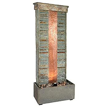 Sunnydaze Outdoor Water Fountain - Large Rippled Slate Garden Water Feature - Backyard Waterfall with Copper Accents & LED Spotlight - 48 Inch Tall - Perfect for Yard Garden Patio or Porch
