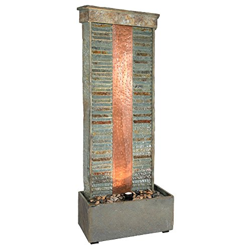 Sunnydaze Rippled Slate Outdoor Water Fountain - Large Garden & Backyard Waterfall Feature with Copper Accents & LED Spotlight - 48 Inch Tall